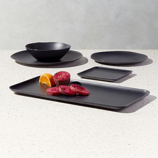 Pebble Matte Black Melamine Dinnerware