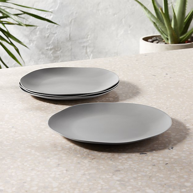 Pebble Matte Grey Melamine Salad Plate Set of 4 - Image 1 of 3