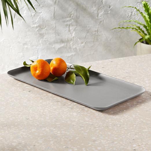 Pebble Matte Grey Rectangular Serving Platter