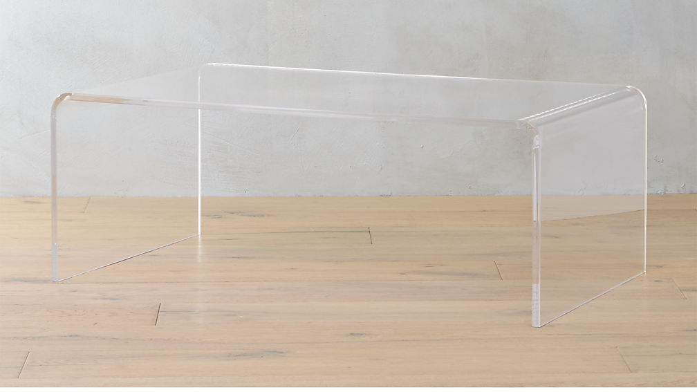 peekaboo acrylic coffee table + reviews | cb2