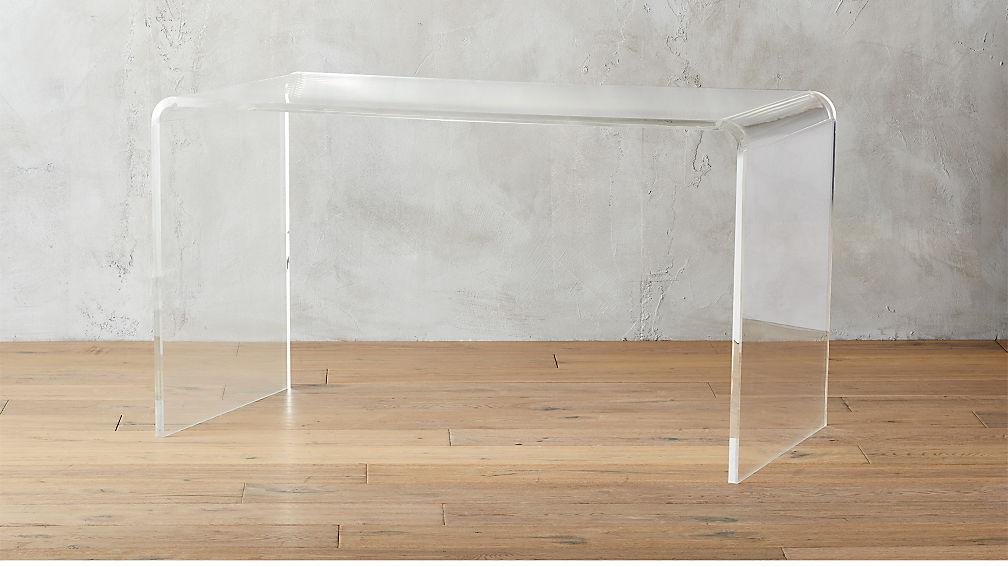 Peekaboo Acrylic Desk Reviews CB - Cb2 lucite table