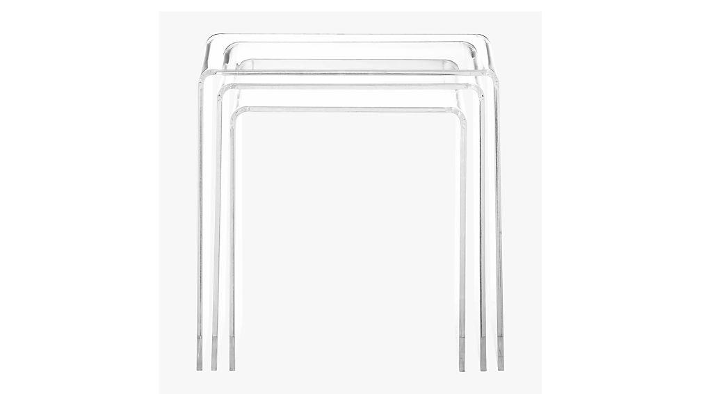 3 piece peekaboo acrylic nesting table set reviews cb2 watchthetrailerfo