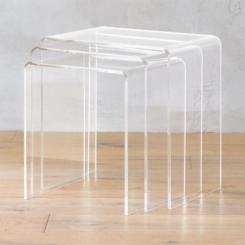 3-piece peekaboo acrylic nesting table set & Nesting Tables | CB2
