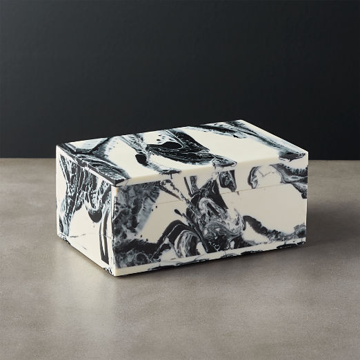 Pekoe Black and White Storage Box with Lid