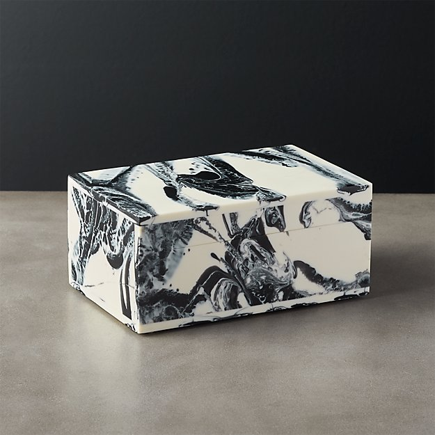 Pekoe Black and White Storage Box with Lid - Image 1 of 6