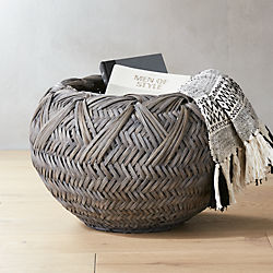 Penny Grey Rattan Basket & Storage Baskets: Metal Rope Jute and More | CB2
