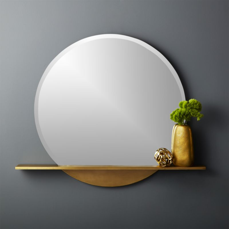 Perch Round Mirror With Shelf 36