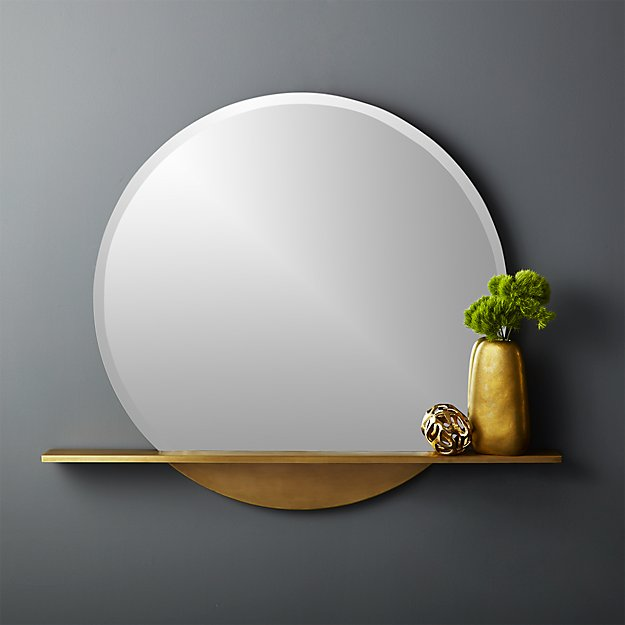 "Perch Round Mirror with Shelf 36"" - Image 1 of 7"