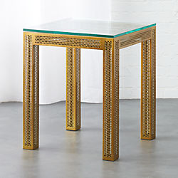Modern side tables end sofa and accent tables cb2 perforated glass side table greentooth Gallery