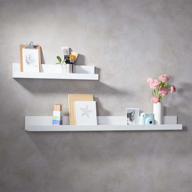 Piano White Wall Shelves Cb2