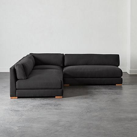 Piazza Dark Grey 3-Piece Modular Double Apartment Sofa Sectional | CB2