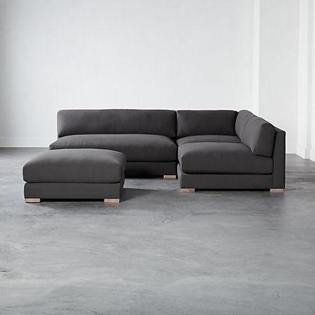 Piazza Dark Grey 4 Piece Modular Single Apartment Sofa Sectional Cb2