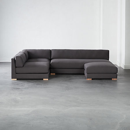 Piazza Dark Grey 4-Piece Modular Full Sofa Sectional