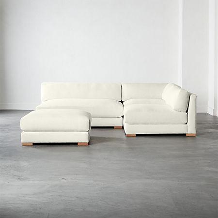 Piazza Snow 4-Piece Modular Single Apartment Sofa Sectional | CB2