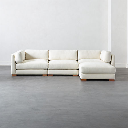 Piazza Snow 4-Piece Modular Sectional Sofa + Reviews | CB2