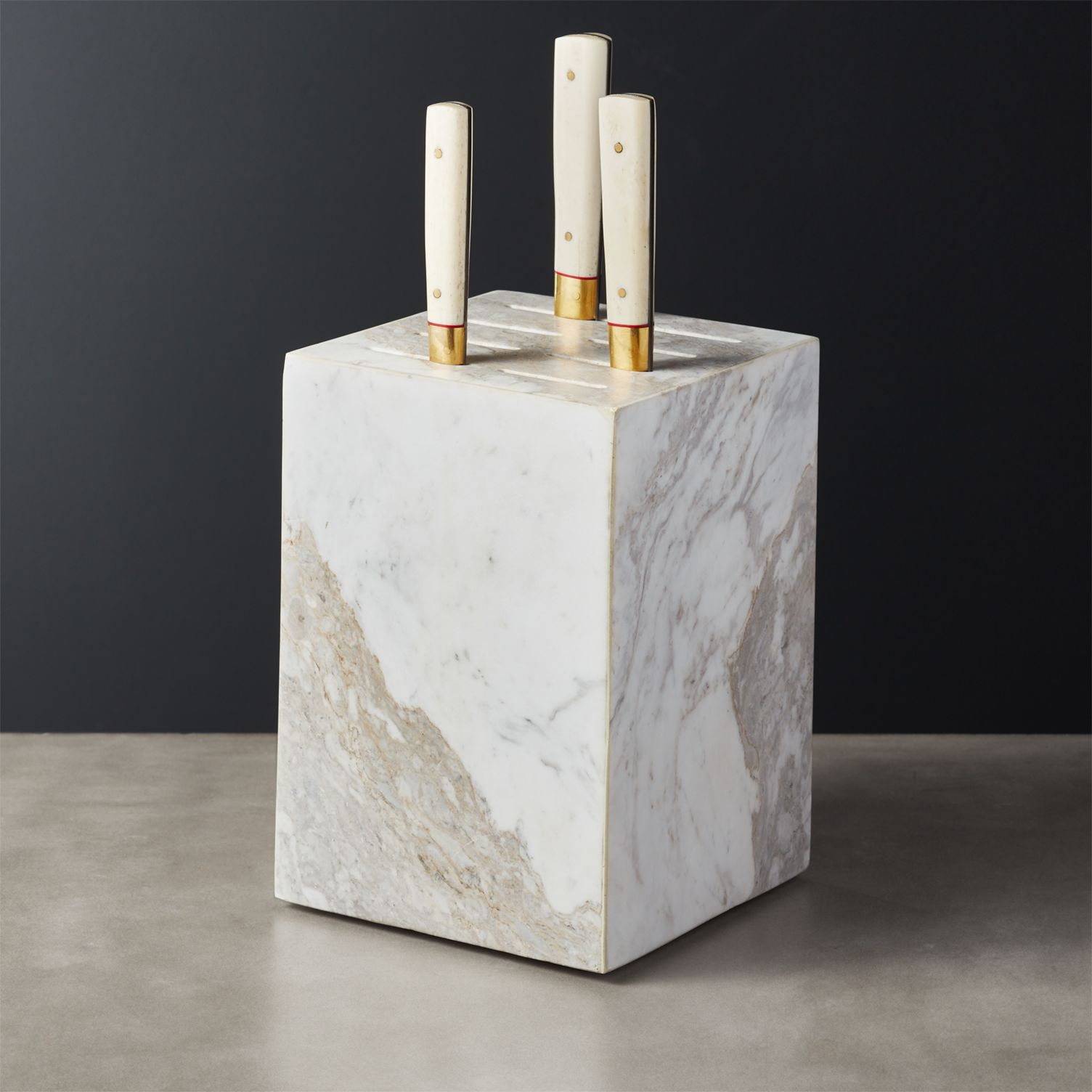 CB2 marble knife block