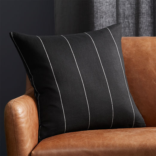 "20"" Pinstripe Black Linen Pillow"