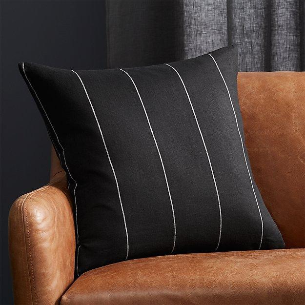 "20"" Pinstripe Black Linen Pillow - Image 1 of 5"