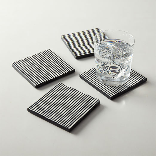 Pinstripe Black and White Resin Coasters Set of 4