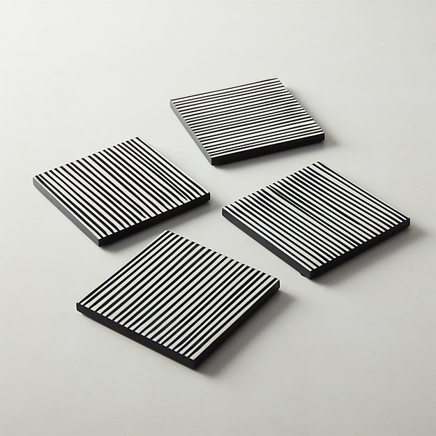 Pinstripe Black and White Resin Coasters Set of 4 - Image 1 of 5