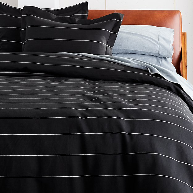 Pinstripe Black Linen Bedding - Image 1 of 3