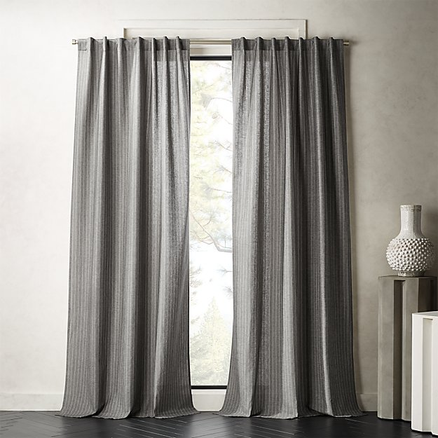 Pinstripe Grey/White Curtain Panel - Image 1 of 3