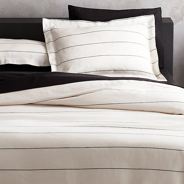Linen Pinstripe Duvet Cover King Reviews Cb2