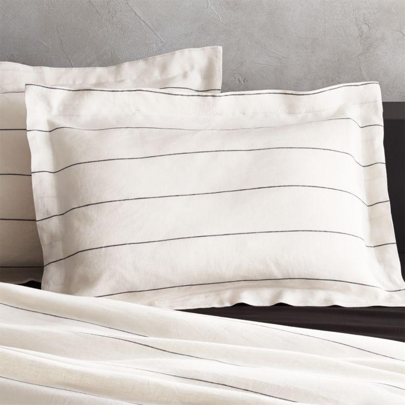 standard pillow shams. Set Of 2 Linen Pinstripe Standard Shams Pillow O