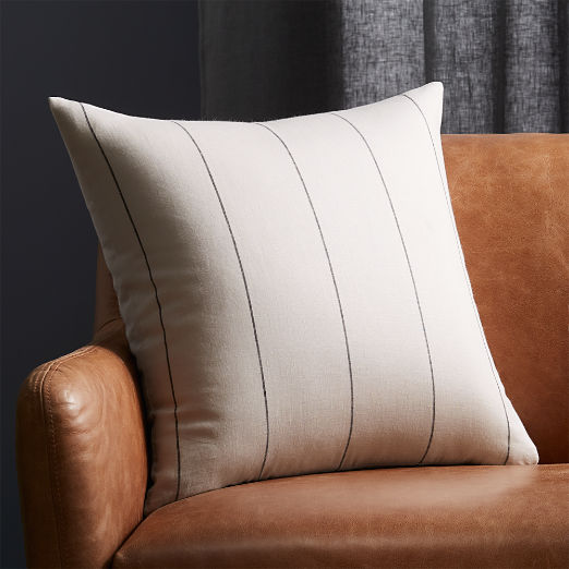 "20"" Pinstripe White Linen Pillow"