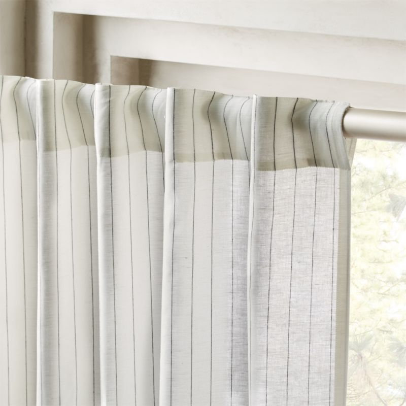 Pinstripe White Black Curtain Panel
