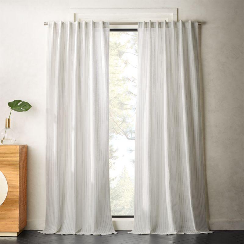 Pinstripe White Black Curtain Panel Cb2