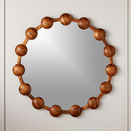"""Pinto Acacia Round Mirror 36"""""""