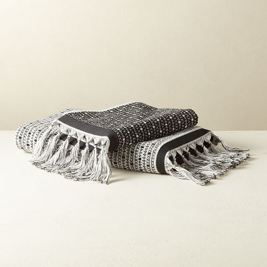 Piper Jacquard Wht/Black Bath Towels
