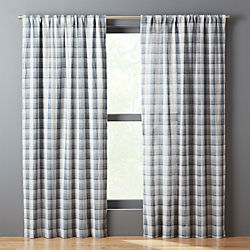 Navy White Plaid Curtain Panel