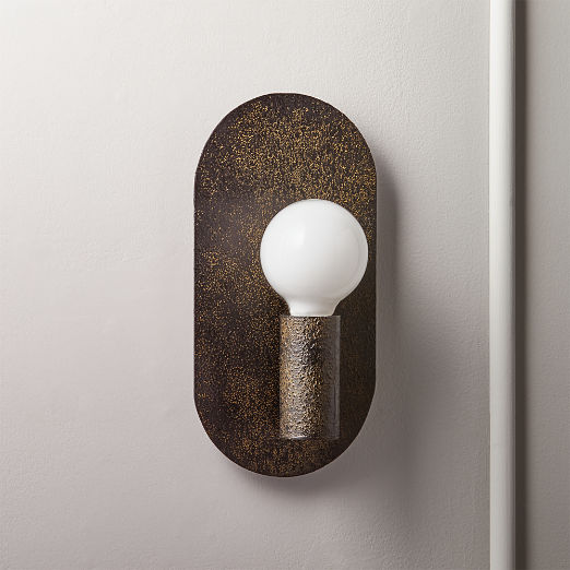Plate Black Textured Wall Sconce