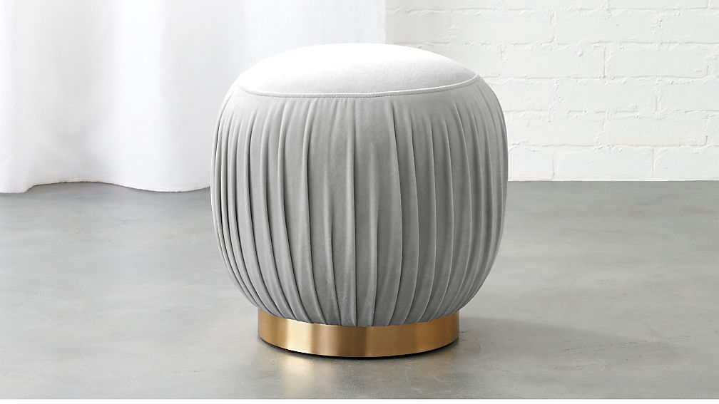 Pleated Grey Ottoman-Stool - Image 1 of 12