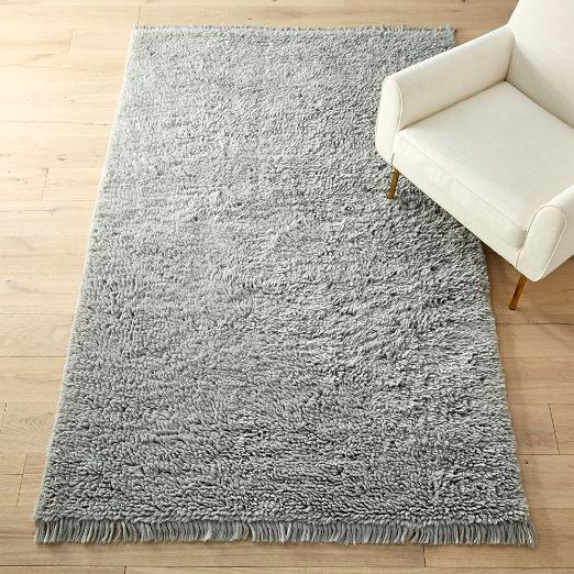Plush Wool Shag Grey Rug