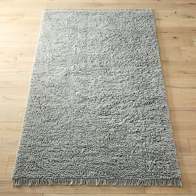 plush wool shag grey rug cb2. Black Bedroom Furniture Sets. Home Design Ideas