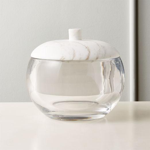 Polar Glass and Marble Ice Bucket