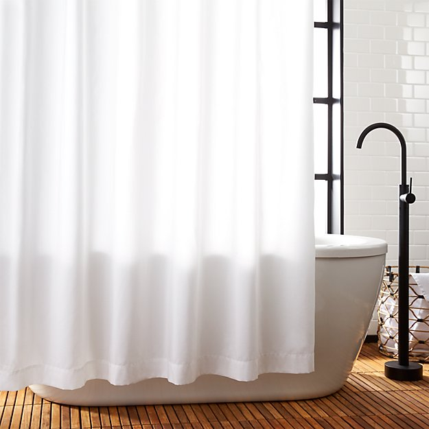 Poly White Shower Curtain Liner + Reviews | CB2