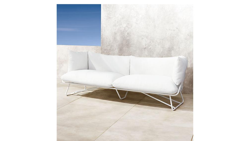 pool party white outdoor sofa reviews cb2 rh cb2 com white sofa furniture white single sofa chair
