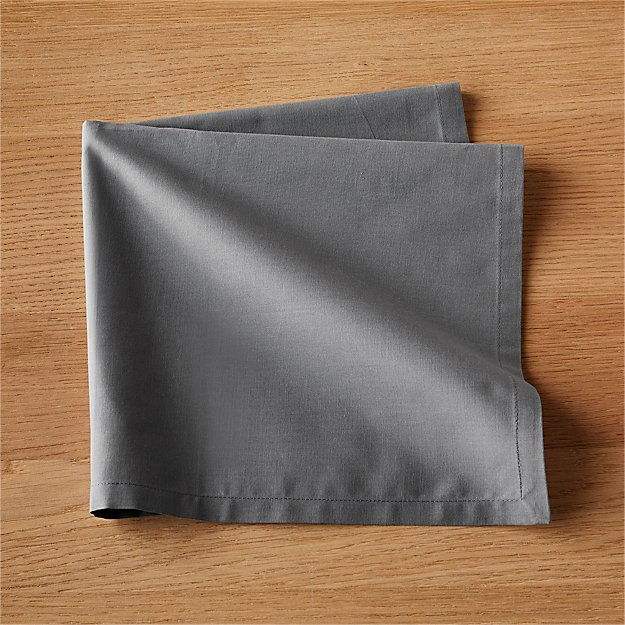 Set of 8 Poplin Grey Napkins - Image 1 of 6