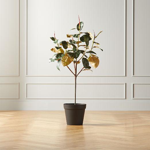 Potted Faux Rubber Plant 4.5'