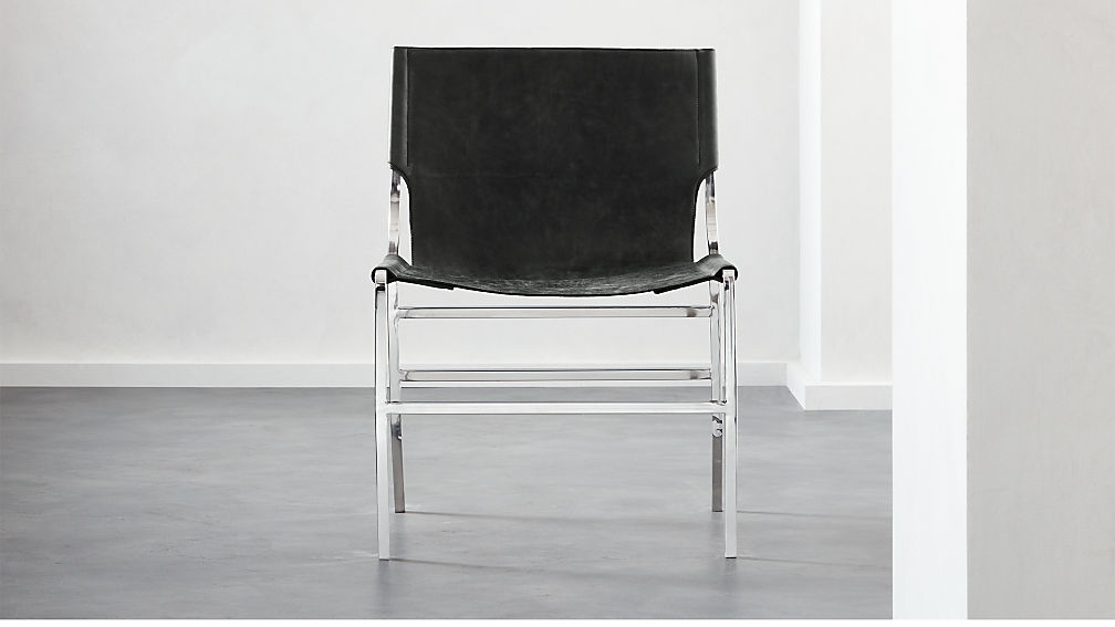 Potter Black Leather Chair - Image 1 of 7