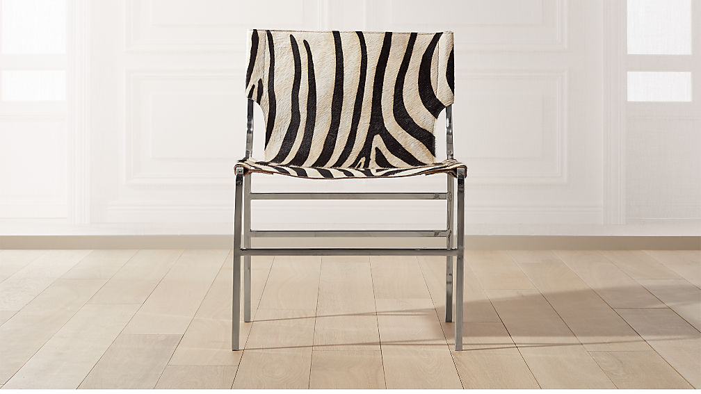 Potter Zebra Print Hair On Hide Chair - Image 1 of 8