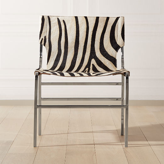 Potter Zebra Print Hair On Hide Chair