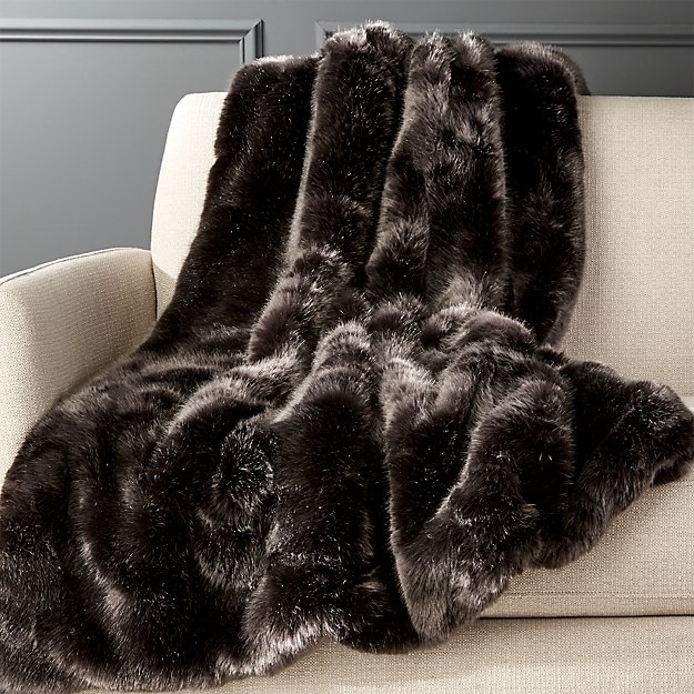 Premium Grey Faux Fur Throw - Image 1 of 8