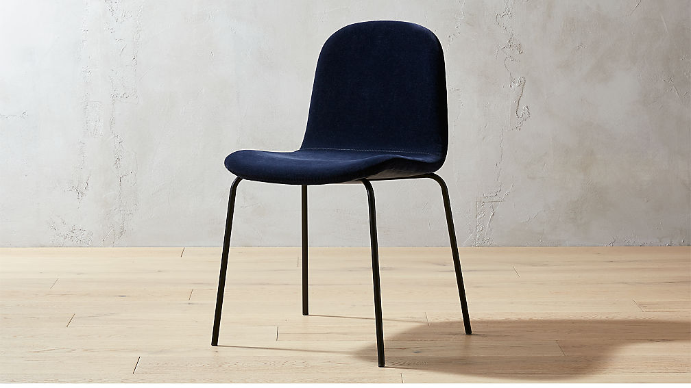 blue velvet dining chairs Primitivo Navy Blue Velvet Dining Chair + Reviews | CB2 blue velvet dining chairs