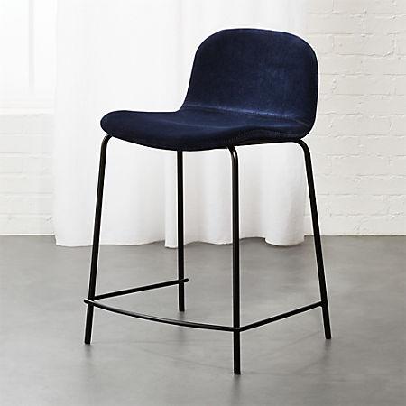 Admirable Primitivo Blue Velvet 24 Counter Stool Theyellowbook Wood Chair Design Ideas Theyellowbookinfo