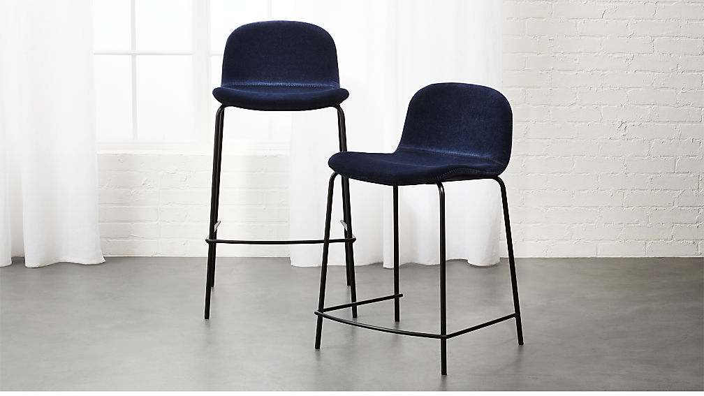 blue bar stools primitivo blue velvet bar stools cb2 29684
